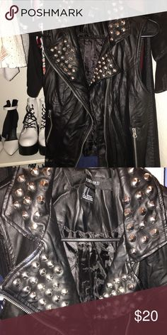 Forever 21 studded faux leather vest Perfect condition only worn once for a photoshooot Forever 21 Jackets & Coats