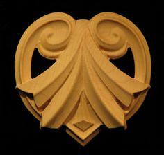 Carved Wood Onlay Applique - Carved Antigua Design