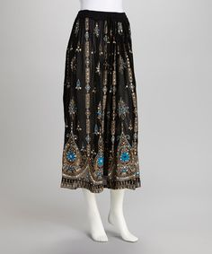 Take a look at this Black Embellished Skirt by Lebaz on #zulily today!