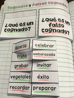 Spanish Interactive Notebook: Cognates and False Cognates