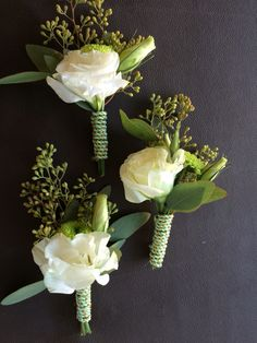 Botonier with lisianthus and seeded eucalyptus