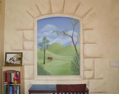 faux painting that blends into wall - might work well for medieval tween bedroom