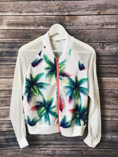 Palm Print Light Bomber Jacket Things I Need To Buy, Outdoor Girls, Palm Print, Sport Wear, Sweater Jacket, Fashion Killa, Active Wear, Style Inspiration, Fashion Outfits