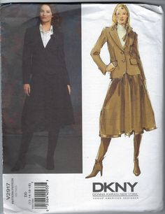 Excited to share the latest addition to my #etsy shop: Vogue Sewing Pattern American Designer DKNY Donna Karan New York V2917 Jacket Skirt Size 12 14 16 18 Uncut Factory Folded 2000s http://etsy.me/2Hg94uu #supplies #sewing #champagnevintagechic #voguesewingpattern #am