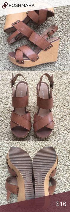 "Massini ""Joplin"" tan wedge sandals. Size 7 Light weight & comfy tan wedge sandals.  Worn a few times.  Size 7 - true to size Massini Shoes Wedges"