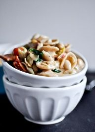 Creamy Tuscan White Bean Pasta from How Sweet It Is