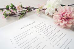 Mit dem Hochzeits-ABC könnt ihr euren Gästen einige Informationen rund um Eure Hochzeit mitteilen! Hier findet ihr Vorlagen & Infos ♥