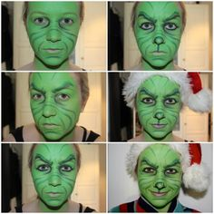 Step by step process of how i achieved this Grinch Makeup! 1. Cover whole face in green paint using a sponge and dabbing motion. Then using a black(or dark green) paint, start creating the wrinkles...