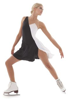 Black and white edgy asymmetrical skate competition dress with point neckline. Beautiful! Choose any color combination you want! London