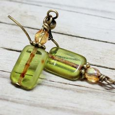 Green Rectangular Glass Bead Earrings  by carolinascreations