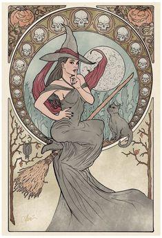 Art Nouveau style Witch :D Éphémères Vintage, Vintage Colors, Vintage Witch, Art Magique, Witch Art, Witch Decor, Witch Aesthetic, Alphonse Mucha, Illustrations