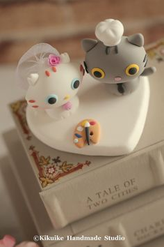 kitty and cat bride and groom wedding cake topperk877 by kikuike