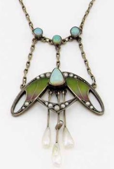 Enamel, opal, pearl and enamel necklace, circa 1900. The stylised foliate Art Nouveau pendant set with guilloché enamel, opals, seed pearls and baroque pearl drops on a fine chain.