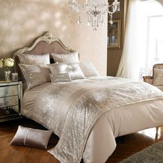 "New for Spring Summer 2017 designer Kylie Minogue Bedding ""Jessa"" Design in this cream bedding with a subtle ""blush pink"" finish - don't forget Free UK Delivery too!!  True to form pillowcases, duvet covers, bed runner and matching cushions are all available to match!!"