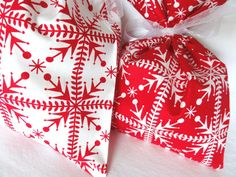 Fabric Gift Bags, Red and White Scandinavian (set of 2)