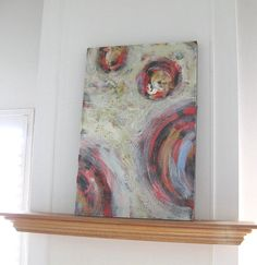 Large Abstract Painting diptrych circles red modern by BrookeHowie, $300.00