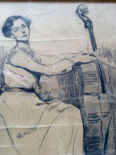 Francesca Vidal, cel.lista, dibuix de Lluisa Vidal.