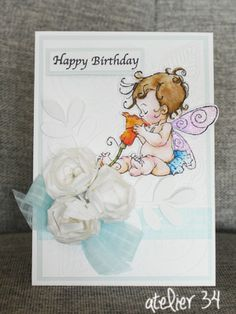 A birthday card with Mo Manning Fairy stamp.