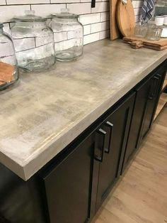 42 Beautiful Kitchen Concrete Counter top Ideas That Looks Cool Black Kitchen Cabinets, Kitchen Cabinet Design, Black Kitchens, Cool Kitchens, Kitchen Black, Kitchen Designs, Wood Cabinets, Cream Cupboards, White Cabinets