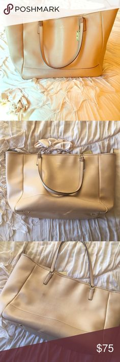 "Coach Tote Authentic saffiano leather large city tote with gold hardware. Used this everyday for work & LOVED it.  Thus it shows wear! Discoloration from denim, scuffing, & inside stains (makeup & pens). Straps show wear (they also broke, which I had repaired).   That being said, it has life left! Please see pics in 2nd post. Definitely not trying to deceive anyone about its condition. ❤️  Approx Measurements: W at top: 20"", W at bottom: 15"", H: 12"", D: 7"" Coach Bags Totes"
