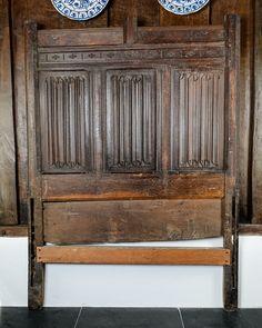 Henry VIII linenfold bed headboard, Marhamchurch antiques