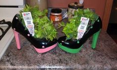 I made these planters  for my cousin's bridal shower. She's a huge shoe lover!  Take an old pair of high heels, tear the lining in the bottom out, drill a hole in the bottom (so water can drain), and plant a house plant in it! You can always get get creative and paint on them as well!  So easy and so cute!
