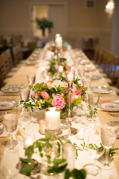 Candles and Rose Flower Arrangements on Trump Wedding Tablescape in Trump Grand Hall for Trump Winery Wedding