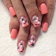 Flowers do not always open, but the beautiful Floral nail art is available all year round. Choose your favorite Best Floral Nail art Designs 2018 here! We offer Best Floral Nail art Designs 2018 .If you're a Floral Nail art Design lover , join us now ! Flower Nail Designs, Nail Designs Spring, Nail Art Designs, Fingernail Designs, Spring Nail Art, Spring Nails, Summer Nails, Nagel Stamping, Nagellack Design