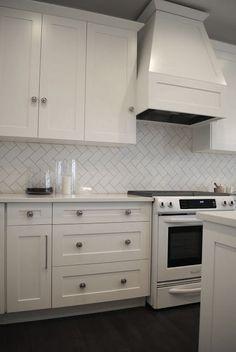 white kitchen herringbone splashback - Google Search