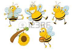 Ilustraci�n de un conjunto de abejas divertido photo