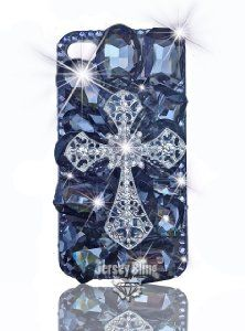 Amazon.com: BLING Iridescent 3d Handmade Swarovski & Czech Crystal Cross Case with HUGE Bling Gems for Iphone 4/4s by Jersey Bling (Gray): Cell Phones & Accessories