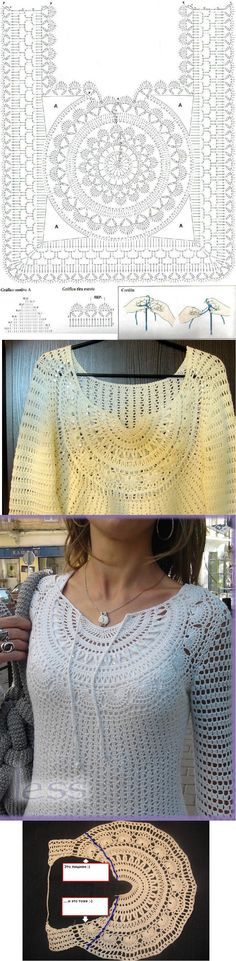 Crochet tops with charts