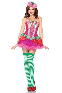 3 PC. Strawberry Sweetie, includes sequin corset with gingham accents, strawberry skirt, and matching bonnet.