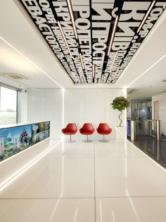 mts headquarters on Behance Corporate Office Decor, Corporate Interiors, Office Interiors, Office Branding, Design Thinking, Cafe Interior, Interior Design, Area Comercial, Office Graphics