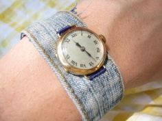 DIY watch band using an op shopped watch face. I need one of these as I am allergic to nickel. Bracelet Denim, Jewelry Crafts, Handmade Jewelry, Denim Ideas, Old Watches, Denim Crafts, Recycled Denim, Bijoux Diy, Fabric Jewelry
