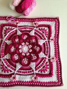 Ravelry: The Amanzi Block/Throw pattern by Jen Tyler Crochet Mandala Pattern, Crochet Square Patterns, Crochet Blocks, Freeform Crochet, Crochet Blanket Patterns, Knitting Patterns, Afghan Patterns, Free Knitting, Crochet Crafts