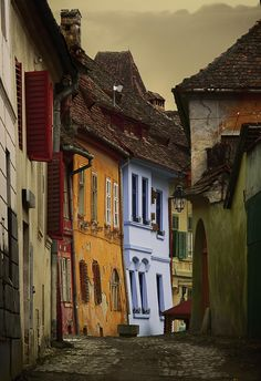 street locate in Sighisoara, a medieval city in Rumania