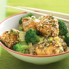 """Say """"open sesame"""" to a Chinese-restaurant classic that's no longer a guilty pleasure. This chicken is sauteed in a little oil instead of deep fried. The less-sweet sauce has fewer calories than a standard recipe, and, nutritionally, brown rice beats white."""
