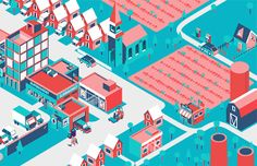 Isometric illustration we made for creative agency Wash.