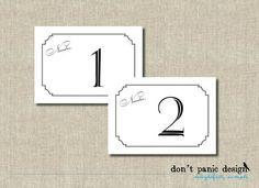Elegant, Vintage Printable Table Numbers 1 to 30 - Black - Wedding or Event Table Numbers - Instant Download