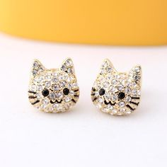 KITTY with crystals stud earrings