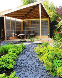 awesome Home Design: How To Make A Zen Garden In Your Backyard For Asian Landscape Decoration With Covered Deck And Patio Furniture Plus Landscape Rocks With Flagstone Walkway And Yellow Flowers, mosaic tile wall, cobblestones Zen Garden Design, Japanese Garden Design, Diy Garden, Patio Design, Garden Gazebo, Garden Boxes, Balcony Garden, Japanese Style, Garden Paths