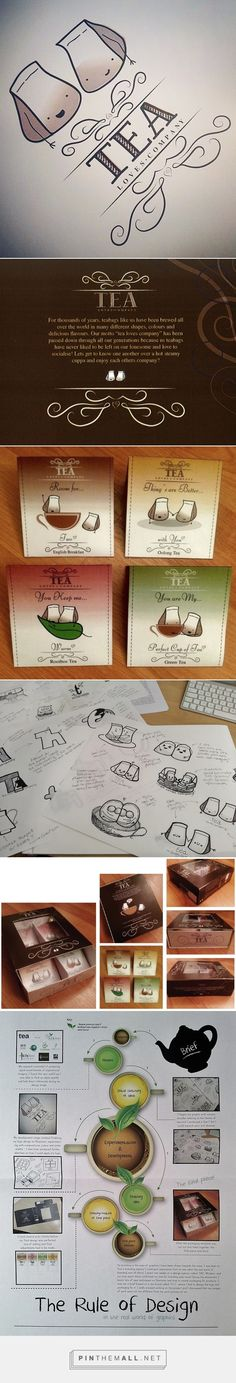 Tea Loves Company on Behance by Cherie Henry curated by Packaging Diva PD. Required to create a new logo and packaging design for tea brand, 'T.L.C.' Packaging had to be designed to hold multiple flavored tea bags and also had to be environmentally friendly : )