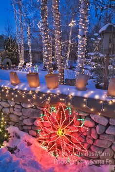 A yard filled with twinkling Christmas lights is part of the annual Christmas Eve celebration on Canyon Road in Santa Fe, New Mexico. Outside Christmas Decorations, Christmas Lights Outside, Outdoor Christmas, Xmas Lights, Holiday Lights, Mexican Christmas, White Christmas, Christmas Holidays, Christmas Wreaths