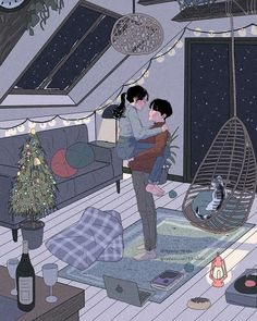 This Korean Artist Giving Serious Couplesgoals Through His Illustration Drawing 642114859351403797 Cute Couple Drawings, Cute Couple Art, Cute Drawings, Paar Illustration, Couple Illustration, Digital Illustration, Couple Amour Anime, Anime Love Couple, Cartoon Kunst