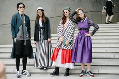 Love their creative wardrobe!  #authenticself Seoul Fashion Week Street Style . modern interpretations of hanbok st