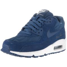 Nike Women's Air Max 90 Prem Running Shoe (1.827.360 IDR) ❤ liked on Polyvore featuring shoes, athletic shoes, blue, athletic running shoes, nike footwear, blue suede shoes, suede running shoes and running shoes