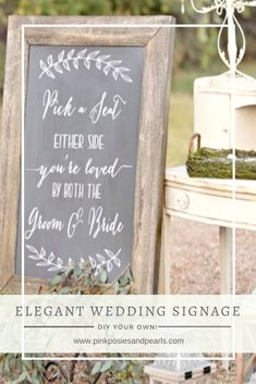 Pick a Seat, Not a Side Sign- Forget pricy wedding signage! These gorgeous decals will turn up the elegance notch on your big event for a fraction of the cost of handpainted signs. Pick out a piece of wood, sand and stain, and then apply one of our cus Wood Wedding Signs, Wedding Welcome Signs, Wedding Signage, Handmade Wedding, Diy Wedding, Wedding Gifts, Wedding Ideas, Wedding Cards, Summer Wedding