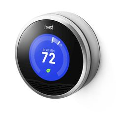 Meet the next generation thermostat. The new energy saving device. Most people leave the house at one temperature and forget to change it. So Nest learns your schedule, programs itself and can be controlled from your phone. Teach it well and Nest can lower your heating and cooling bills up to 20%.