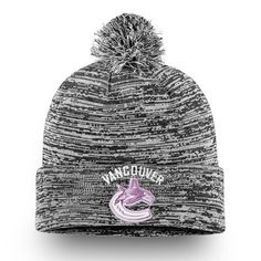 Men s Vancouver Canucks Fanatics Branded Heathered Black Hockey Fights  Cancer - Cuffed Knit Hat with Pom b09648cca